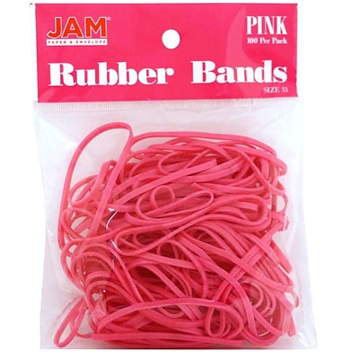 JAM Paper® Rubber Bands, #33 Size, Pink Rubberbands, 100/pack (333RBPI)
