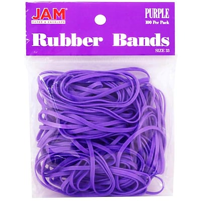 JAM Paper® Rubber Bands, #33 Size, Purple Rubberbands, 100/pack (333RBPU)