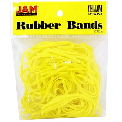 JAM Paper® Rubber Bands, #33 Size, Yellow Rubberbands, 100/pack (333RBYE)