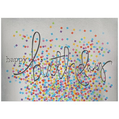 JAM Paper® Blank Birthday Cards Set, Birthday Wording with Confetti, 25/pack (526BG501WB)