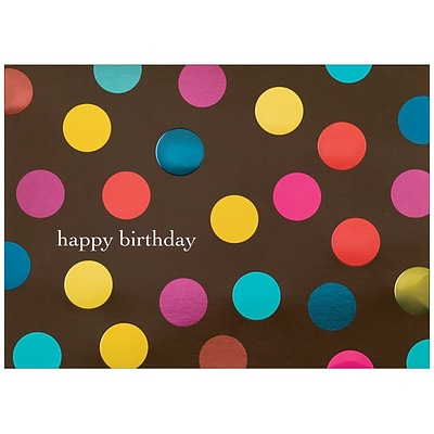 JAM Paper® Blank Birthday Cards Set, Big Dots on Brown, 25/pack (526BG533WB)