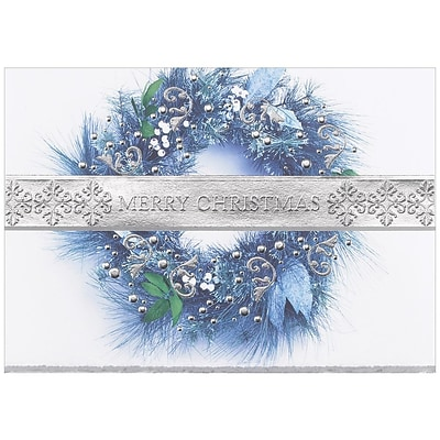 JAM Paper® Blank Christmas Holiday Cards Set, Merry Christmas Wreath, 25/pack (526M0214B)