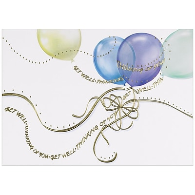 JAM Paper® Sympathy Cards Set, Get Well Balloons, 25/pack (526M0435WB)