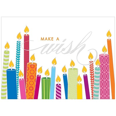 JAM Paper® Blank Birthday Cards Set, Make a Wish, 25/pack (526M0620WB)