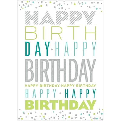 JAM Paper® Blank Birthday Cards Set, Typography with Glitter, 25/pack (526M0835WB)