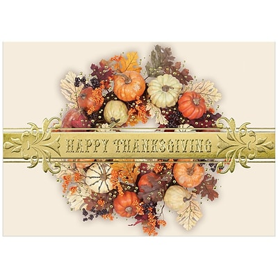JAM Paper® Blank Thanksgiving Card Set, Thanksgiving Colorful Wreath, 25/pack (526M0883WB)