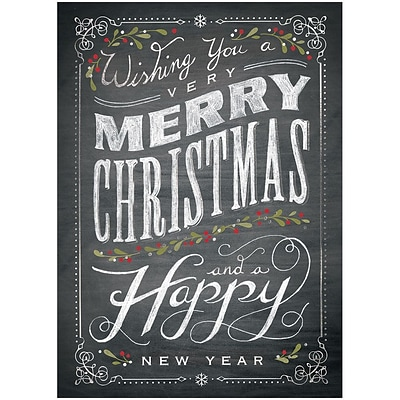 JAM Paper® Blank Christmas Holiday Cards Set, Chalkboard Merry Christmas, 25/pack (526M1028WB)