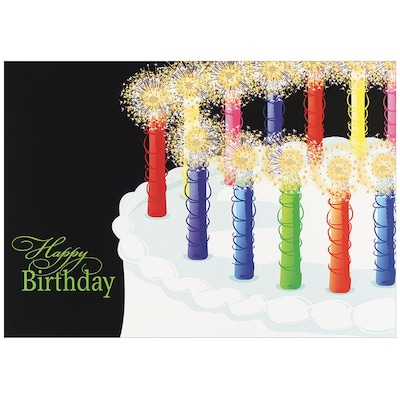 JAM Paper® Blank Birthday Cards Set, Birthday Candles, 25/pack (526XA5604WB)