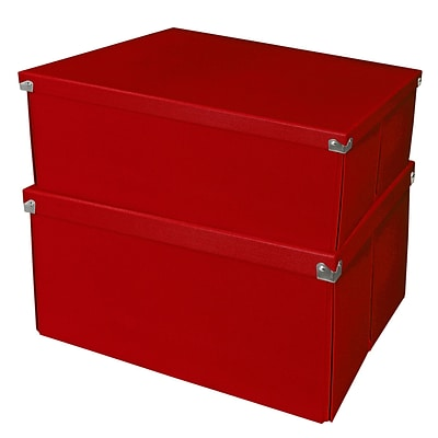 Samsill® Pop n' Store Essential Storage Box, 15.5L x 12.6W x 8.1H, Red, 2/PK (PNS06LSRD2)