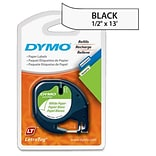 Dymo LetraTag 10697 1/2 Paper Label; Black On White, 2/Pack