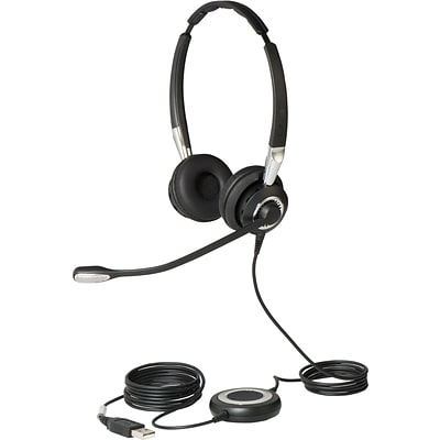 Jabra  BIZ 2400 II Over-the-Head Stereo Headset with Noise-Cancelling Microphone; Black