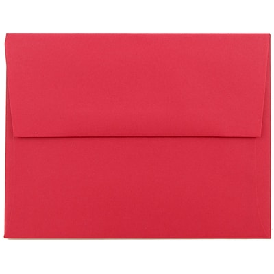 JAM Paper® A2 Invitation Envelopes, 4 3/8 x 5 3/4, Brite Hue Red Recycled, 250/box (15845H)