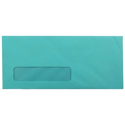 JAM Paper® #10 Business Colored Window Envelopes, 4.125 x 9.5, Sea Blue Recycled, 25/Pack (5156478)
