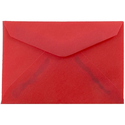 JAM Paper® 3drug Mini Small Envelopes, 2 5/16 x 3 5/8, Red Translucent Vellum, 100/pack (1591589A)