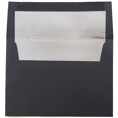 JAM Paper® A6 Foil Lined Envelopes, 4.75 x 6.5, Black Linen Recycled with Silver Lining, 25/pack (3243681)