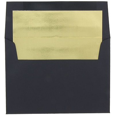 JAM Paper® A7 Foil Lined Envelopes, 5.25 x 7.25, Black Linen with Gold Lining, 25/pack (3243679)