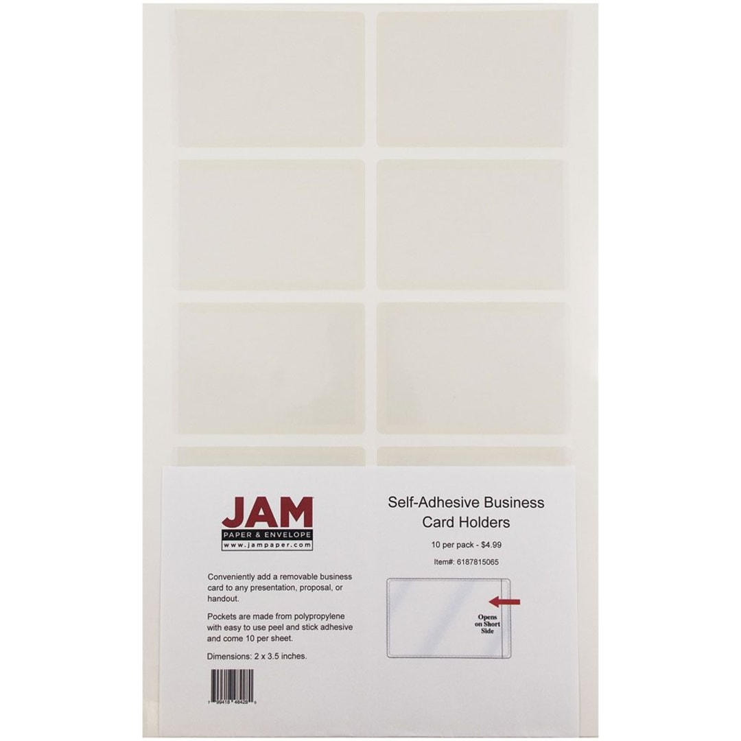 JAM Paper® Self Adhesive Business Card Holder Pocket, Clear, 10/pack ...