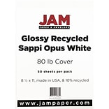 JAM Paper® Glossy Cardstock 2-sided, 8.5 x 11, 80lb White, 250/ream (1034702)