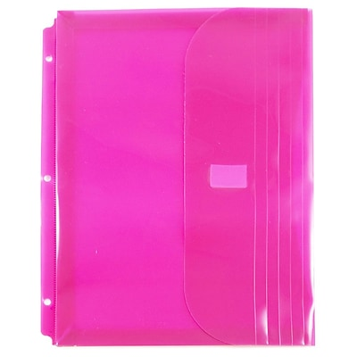 JAM Paper® Plastic 3 Hole Binder Envelopes with Hook & Loop, 9.5 x 11.5 with 1 Inch Expansion, Fuchsia Pink, 12/Pack (218VB1PI)
