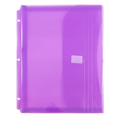 JAM Paper® Plastic 3 Hole Punch Binder Envelopes, Hook & Loop Closure, 1 Expansion, 8.63 x 11.5, Lilac Poly, 12/Pk (218VB1LI)