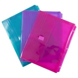 JAM Paper® Plastic 3 Hole Punch Binder Envelopes, VELCRO® Brand Closure, 1 Expansion, 8.6 x 11.5, As