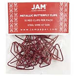JAM Paper® Butterfly Paper Clips, Red Paperclips, 15/pack (2210016348)