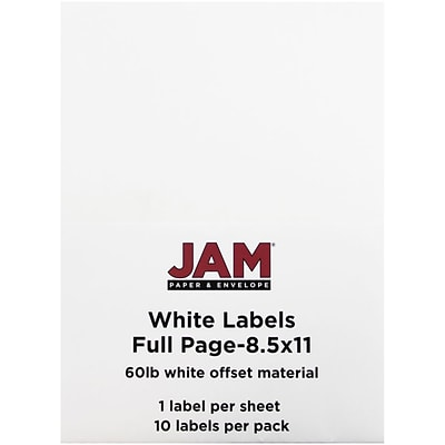 JAM Paper® Full Page Labels, 8.5 x 11 Sticker Paper, White, 10/pack (4066683)