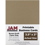 JAM Paper® Two Sided Printable Business Cards, 2 x 3.5, Brown Kraft Paper Bag Recycled, 100/pack (22
