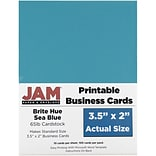 JAM Paper® Two Sided Printable Business Cards, 2 x 3.5, Bright Hue Sea Blue Recycled, 100/pack (2212