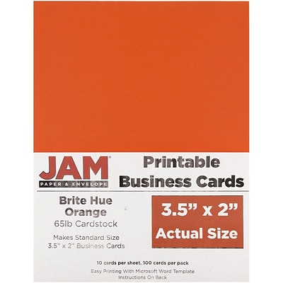 JAM Paper® Printable Business Cards, 3 1/2 x 2, Orange, 100/Pack (22128342)
