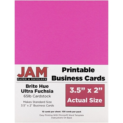JAM Paper® Printable Business Cards, 3 1/2 x 2, Ultra Fuchsia Pink, 100/Pack (22128338)
