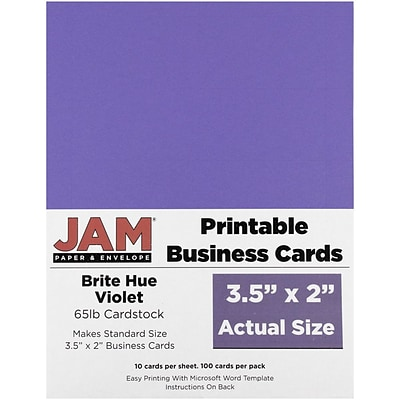 JAM Paper® Printable Business Cards, 3 1/2 x 2, Violet Purple, 100/Pack (22128337)