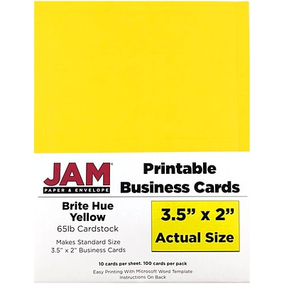 JAM Paper® Printable Business Cards, 3 1/2 x 2, Yellow, 100/Pack (22128336)