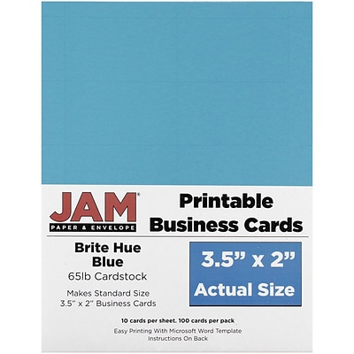 JAM Paper® Printable Business Cards, 3 1/2 x 2, Blue, 100/Pack (22128333)