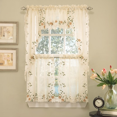Sweet Home Collection Old World Style Floral Embroidered Semi-Sheer Swag Curtain Valance (Set of 2)
