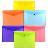 JAM Paper® Plastic Envelopes with Snap Closure, Letter Booklet, 9.75 x 13, Assorted Poly Colors, 6/p