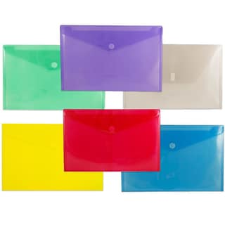 JAM Paper® Plastic Envelopes with Hook & Loop Closure, Legal Booklet, 9.5 x 14 3/8, Assorted Poly,