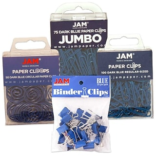 JAM Paper® Office Clip Assortment Pack, Blue, 1 Binder Clips 1 Paperclips 1 Circular Cloops, 4/set (