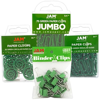 JAM Paper® Colored Office Clip Assortment Pack, Green, 1 Binder Clips 1 Paperclips 1 Circular Cloops, 4/set (26411GRASRTD)