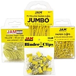 JAM Paper® Colored Office Clip Assortment Pack, Yellow, 1 Binder Clips 1 Paperclips 1 Circular Cloop