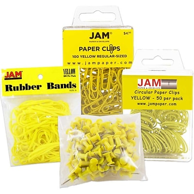 JAM Paper® Office Supply Assortment, 1 pack Rubber Bands, Push Pins, Paper Clips, Round Paperclips, Yellow, 4/pack (3224YEOASRT)