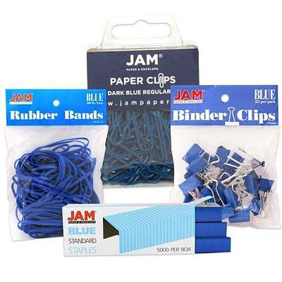 JAM Paper® Colored Desk Supply Assortment Pack, Blue, Rubber Bands, Binder Clips, Staples, Regular Paperclips (3345BUASRTD)