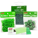 JAM Paper® Desk Supply Assortment Pack, 1 pack Rubber Bands, Binder Clips, Staples, Paperclips, Gree