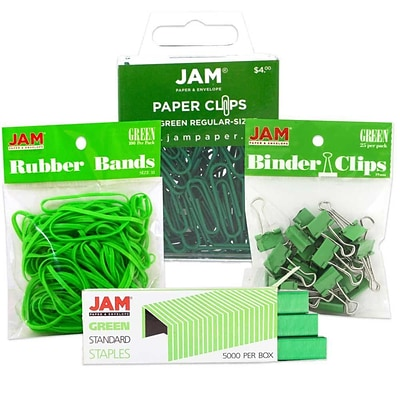 JAM Paper® Colored Desk Supply Assortment, 1 Pack Each: Rubber Bands, Binder Clips, Staples, Paperclips, Green (3345GRASRTD)