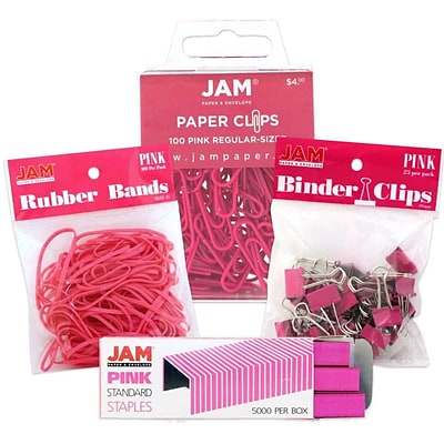 JAM Paper® Desk Supply Assortment Pack, Pink, 1 Rubber Bands 1 Binder Clips 1 Colored Staples 1 Regular Paperclips (3345PIASRTD)