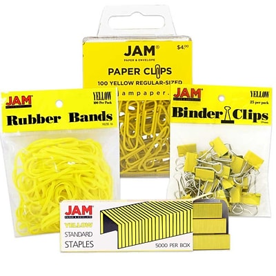 JAM Paper® Colored Desk Supply Assortment, 1 Pack Each: Rubber Bands, Binder Clips, Staples, Paperclips, Yellow (3345YEASRTD)