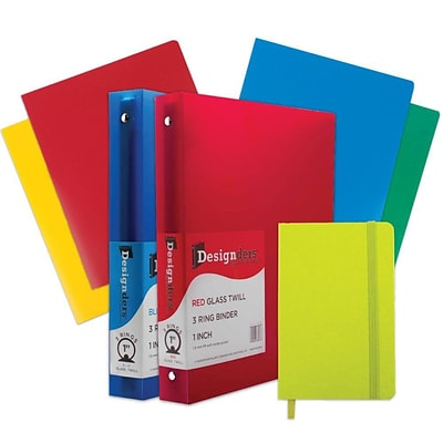 JAM Paper® Back To School Assortments, Classwork Pack, 4 Heavy Duty Folders, 2 1 Binders, 1 Journal, Green, 7/pk (383CW1GASSRT)