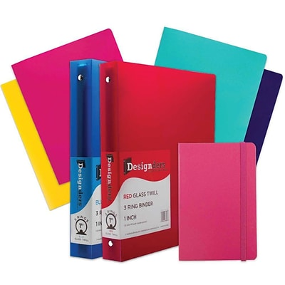 JAM Paper® Back To School Assortments, Pink, 4 Heavy Duty Folders, 2 1 Inch Binders & 1 Pink Journal, 7/Pack (383CW1PASSRT)