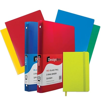 JAM Paper® Back To School Assortments, Green Classwork Pack, 4 Heavy Duty Folders, 2 .75 Binders, 1 Journal, 7/pk (383CWGASSRT)