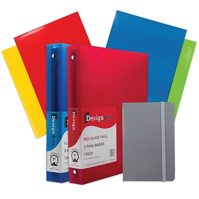 JAM Paper® Back To School Assortments, Grey, 4 Glossy Folders, 2 1 Inch Binders & 1 Grey Journal, 7/Pack (385CW1GRASSRT)